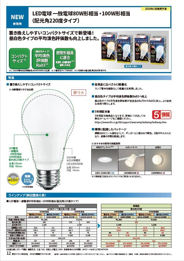 LED電球一般電球80W形相当・100W形相当(配光角220度タイプ)